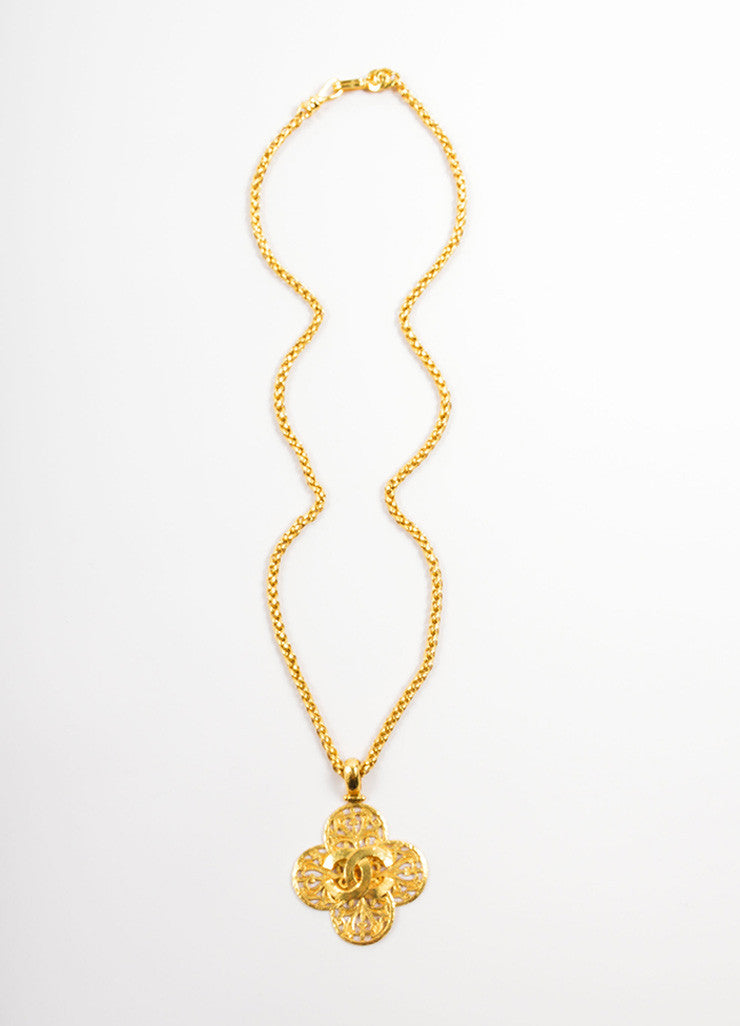 "Chanel Gold Toned Metal ""CC"" Logo Clover Pendant Necklace Frontview"