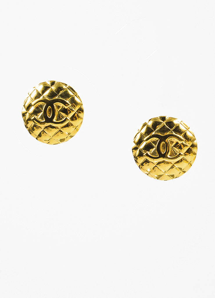 Chanel Gold Toned Quilted 'CC' Logo Round Oversized Clip On Earrings Frontview