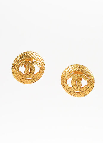 Chanel Gold Toned Textured Basketweave 'CC' Logo Clip On Earrings Frontview