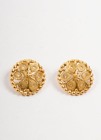 Goossens Gold Toned Swirl Textured Circle Cocktail Earrings Frontview