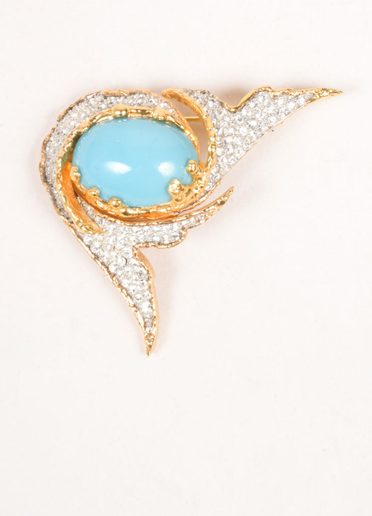 Jomaz Gold Toned Rhinestone and Turquoise Cabochon Pin Frontview
