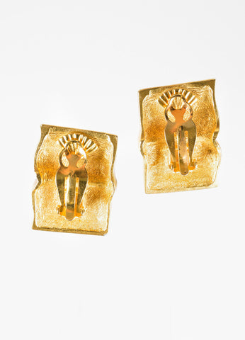 "Karl Lagerfeld Gold Toned ""KL"" Signature Open Book Clip On Earrings Backview"