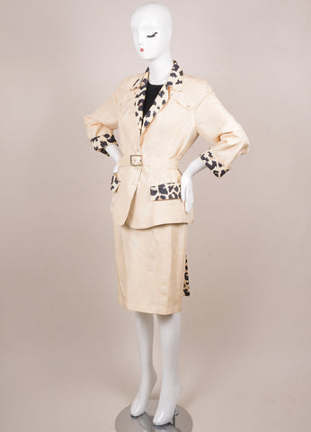 Thierry Mugler Cream and Black Silk Leopard Belted Jacket Skirt Suit Sideview