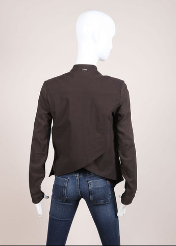 VPL Black and Grey Suede Panel Draped Jacket Backview