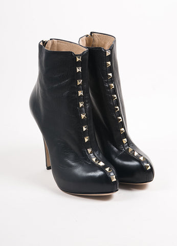 "Valentino Black Leather ""Rockstud"" Platform Heel Ankle Boots Frontview"