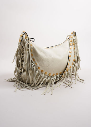 Valentino White Leather Fringe Medallion Hobo Shoulder Bag Sideview