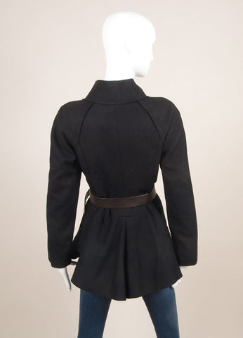 Vera Wang Black Wool Exposed Seam Ruffle Belted Long Sleeve Jacket Backview