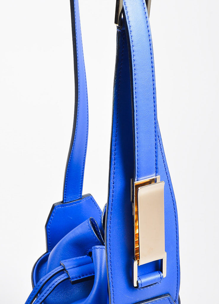 Cobalt Blue Victoria Beckham Croc Embossed Bucket Bag Detail 3