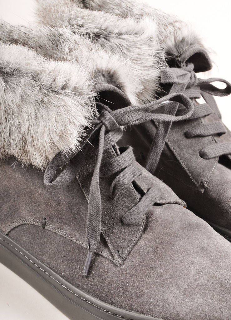 "Vince New In Box Grey Suede Leather Rabbit Fur Trim ""Nyack"" Hi Top Sneakers Detail"
