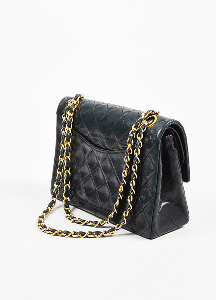 "Chanel Black Gold Toned Lambskin Leather Quilted ""Small Double Flap"" Bag Sideview"