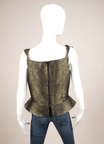 Vivienne Westwood Anglomania New With Tags Gold Metallic Peplum Sleeveless Top Backview