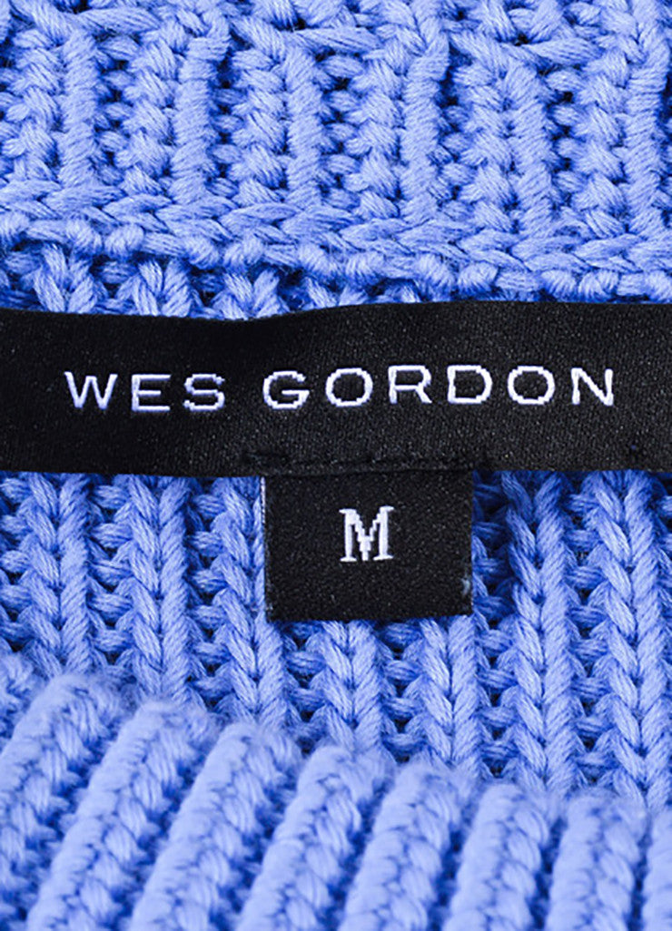 Wes Gordon Periwinkle Blue Cotton Silk Knit Pullover Sweater Brand