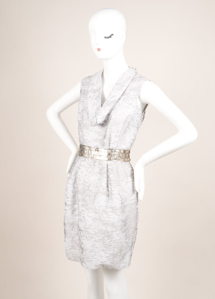 Yigal Azrouel Grey Abstract Print Beaded Waist Sleeveless Cowl Neck Sheath Dress Sideview