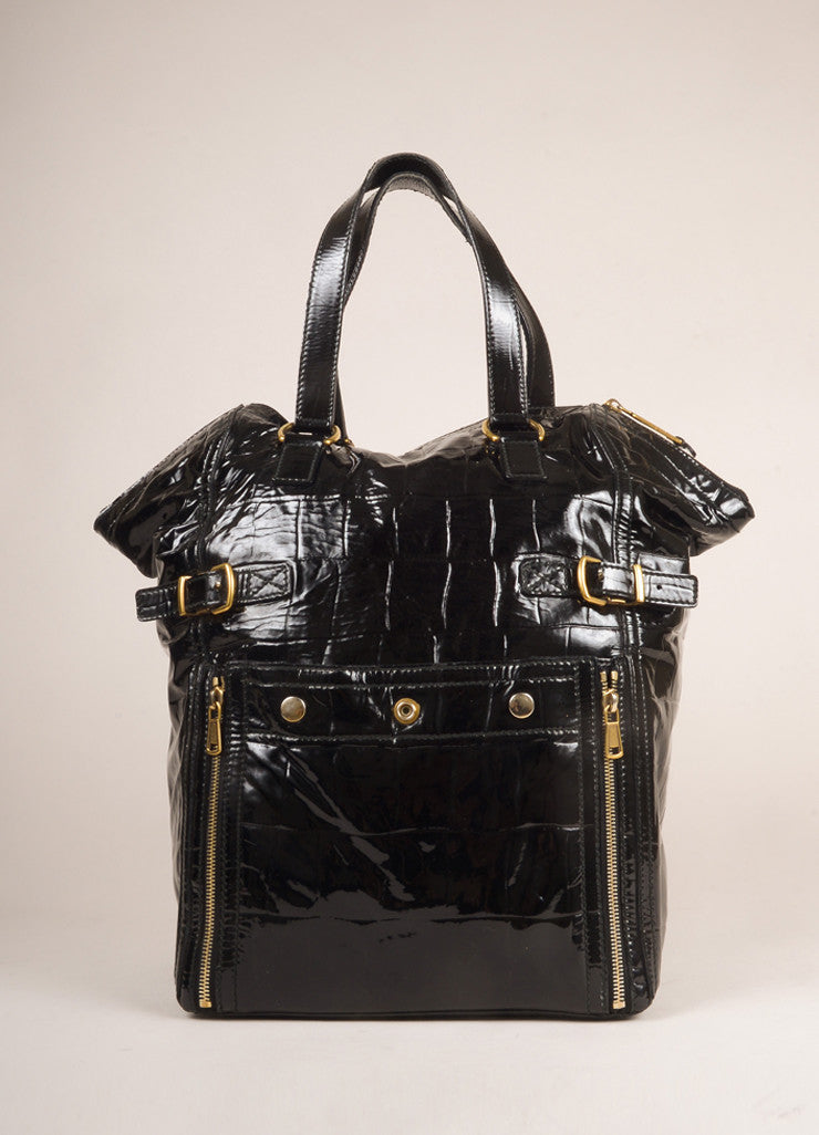 "Yves Saint Laurent Black Patent Leather Croc Print Medium ""Downtown"" Bag Frontview"