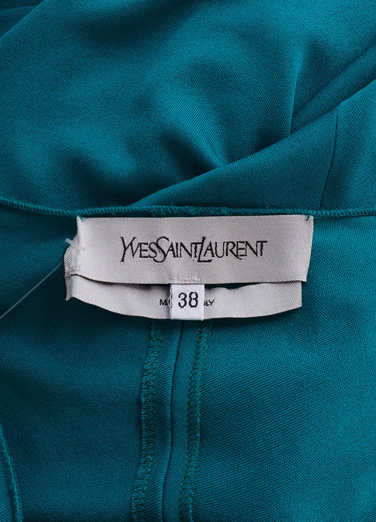 Yves Saint Laurent Teal Viscose Silk Woven Front Floor Length Gown Brand