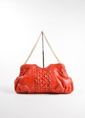 Zagliani Red Python Snakeskin Trim Chain Slouchy Shoulder Bag Frontview