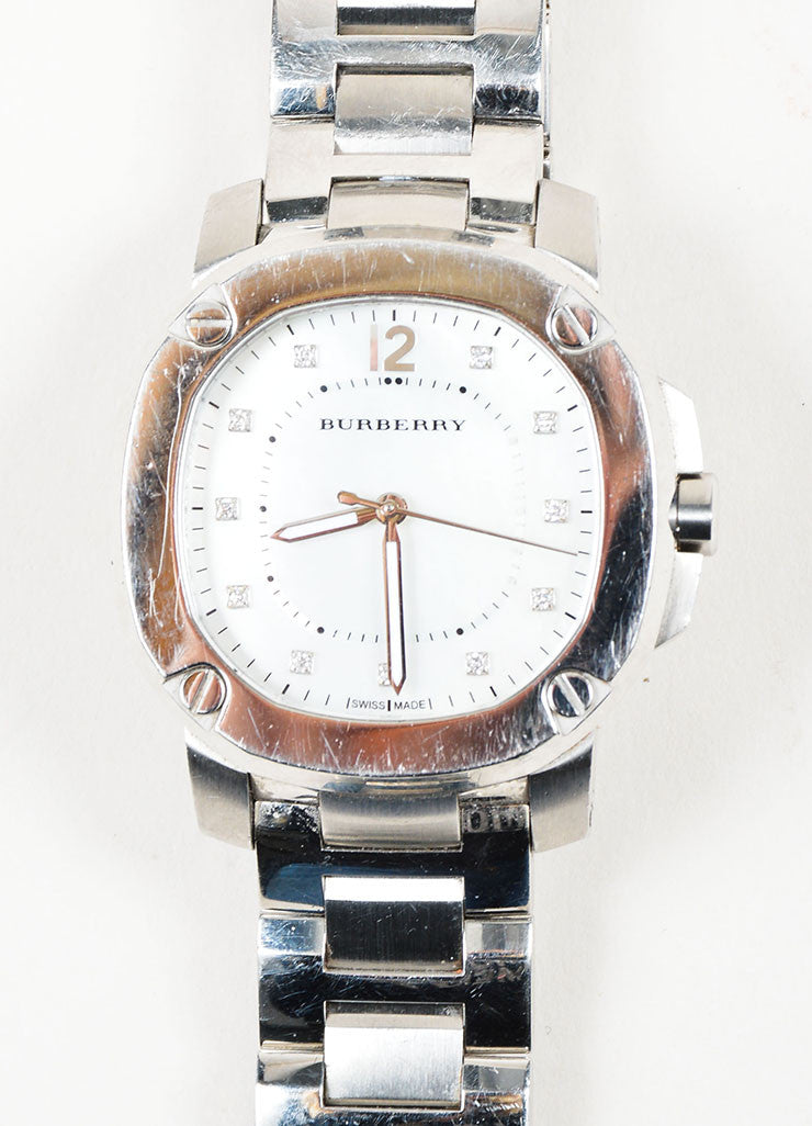 Stainless Steel Burberry Diamond Mother of Pearl Watch Face