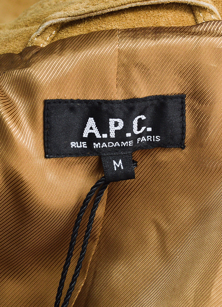 A.P.C. Tan Suede Leather Button Down Belted Long Sleeve Trench Coat Brand