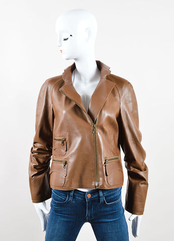 Akris Brown Leather Zip Jacket Frontview