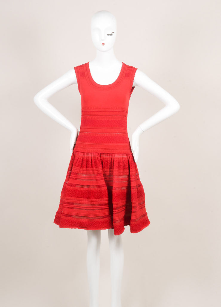 Alaia Red Silk Stretch Knit Sleeveless Flounce Flared Dress Frontview