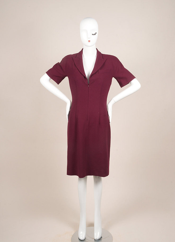 Alexander McQueen Maroon Wool Zip Up Short Sleeve Sheath Dress Frontview