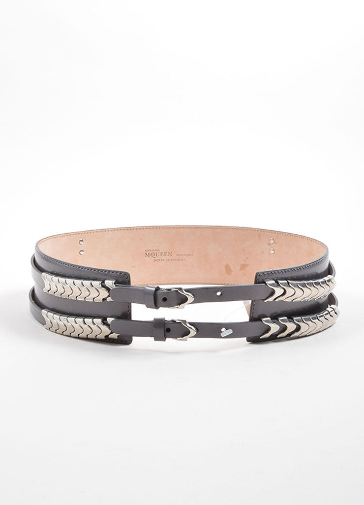 Alexander McQueen Grey and Silver Toned Leather Snake Waist Belt Frontview