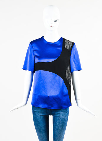 Alexander Wang Blue and Black Mesh Cut Out Short Sleeve Top Frontview
