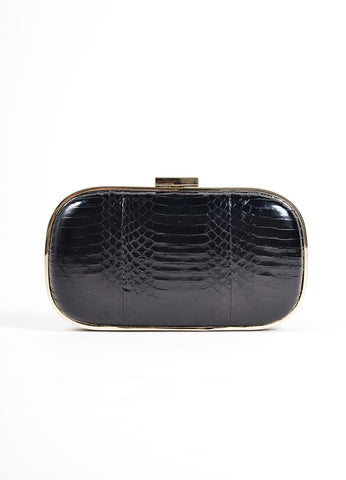 "Anya Hindmarch Black Snakeskin Leather ""Marano"" Hard Case Oval Clutch Bag Frontview"