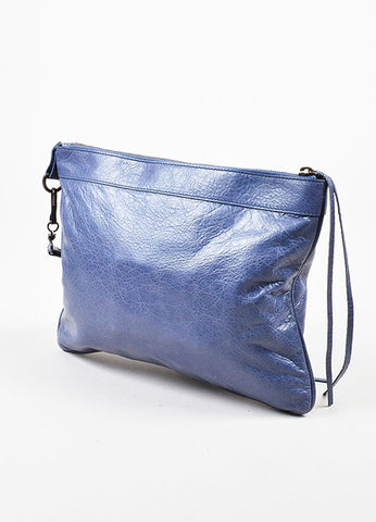 "Periwinkle Blue Balenciaga Distressed Leather ""Agneau RH"" Flat Clutch Bag Sideview"
