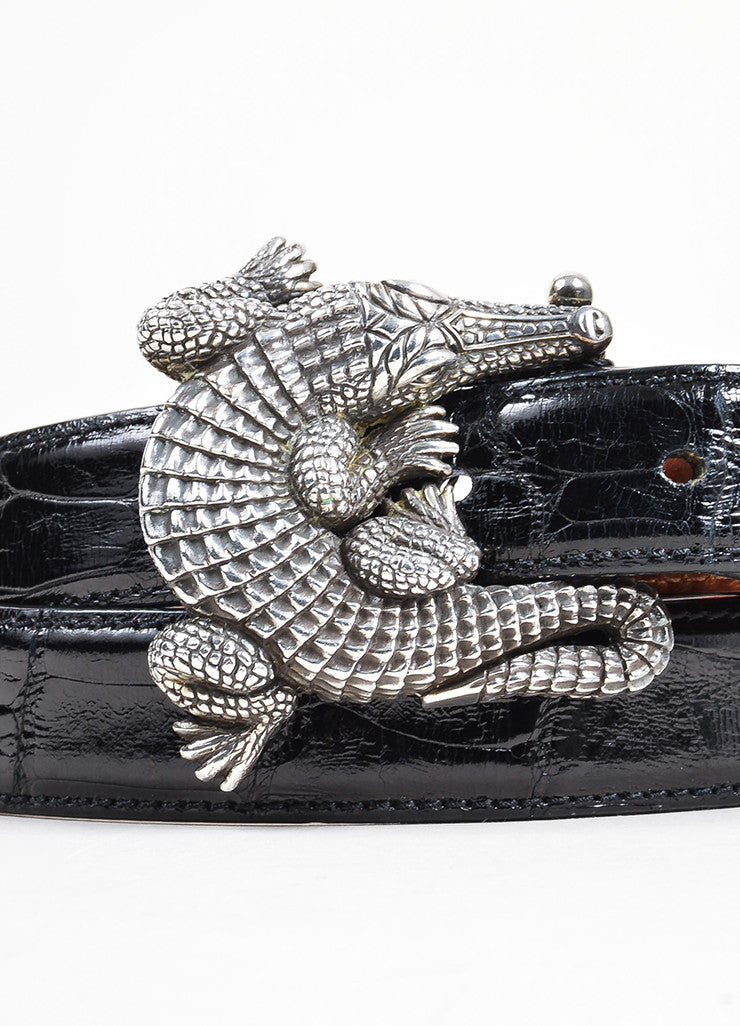 Barry Kieselstein-Cord Brown and Black Interchangeable Strap Alligator Buckle Belt Detail