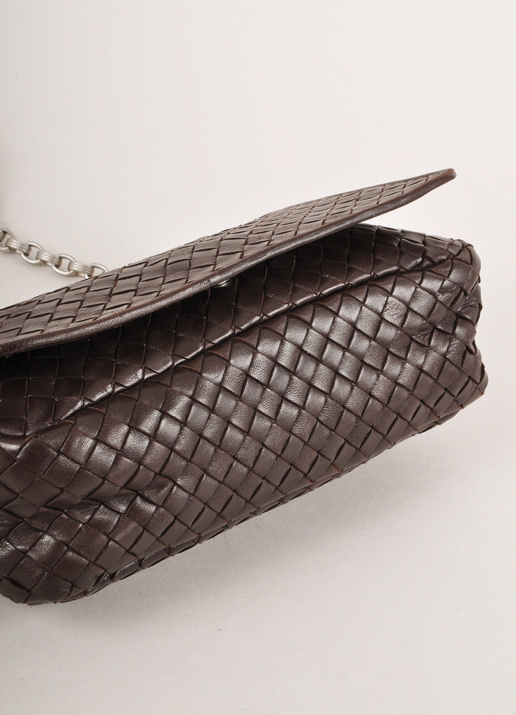 Bottega Veneta Brown Leather Silver Toned Chain Link Woven Small Shoulder Bag Bottom View