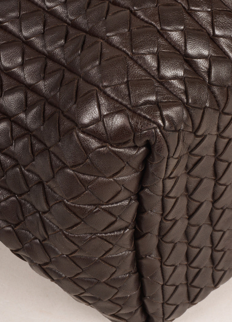 Bottega Veneta Brown Leather Woven Intrecciato Tote Bag Detail