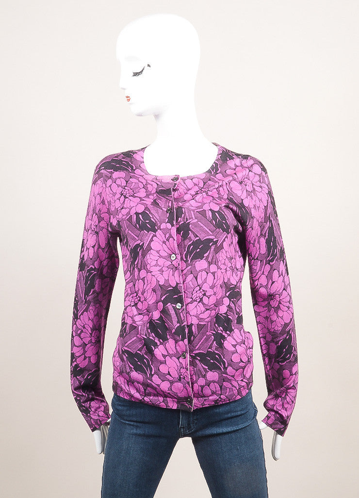 Bottega Veneta New With Tags Black and Purple Cashmere and Silk Floral Print Cardigan Frontview