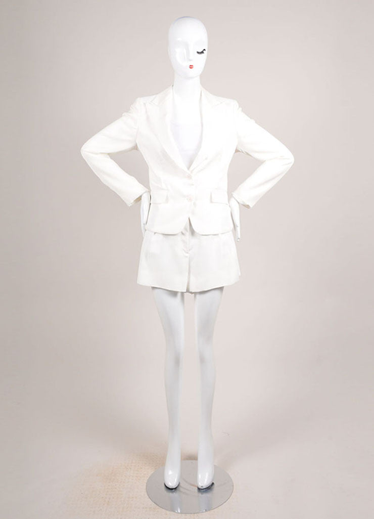 Bottega Veneta New With Tags Cream Open Back Blazer and Pleated Shorts Suit Frontview