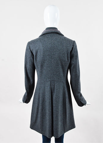 Brunello Cucinelli Grey Wool Cashmere Drawstring Layered Coat Back