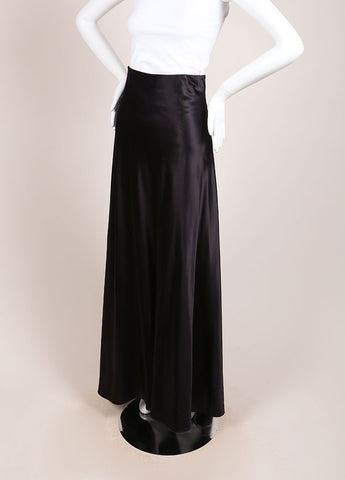 Calvin Klein Black Silk Blend Full Length Skirt Sideview