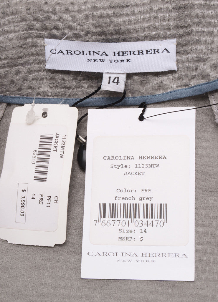 Carolina Herrera New With Tags Grey Wool Blend Feather Embellished Jacket Brand