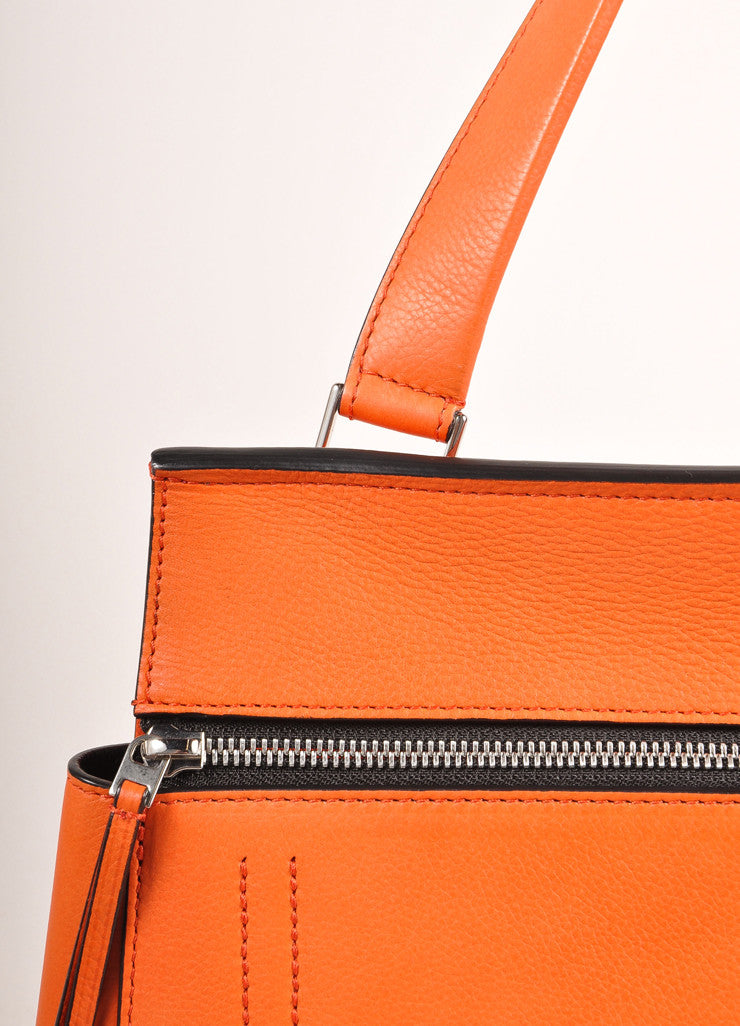 "Celine Orange ""Vermillion"" Leather Structured Large ""Edge"" Tote Bag Detail 2"