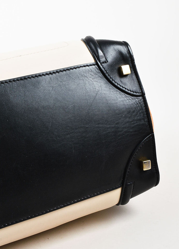 "Celine Black, Tan, and Beige Leather and Suede Winged ""Mini Luggage Tote"" Handbag Bottom View"