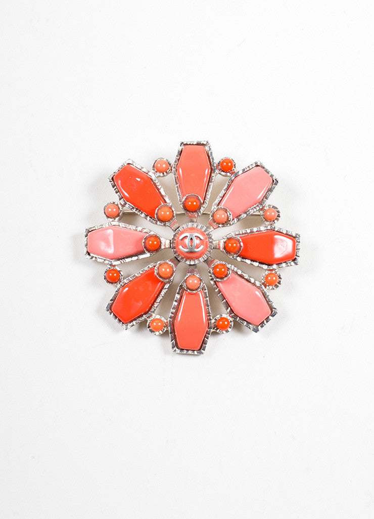 Chanel Red and Pink Geometric Enamel Oversized Brooch Frontview