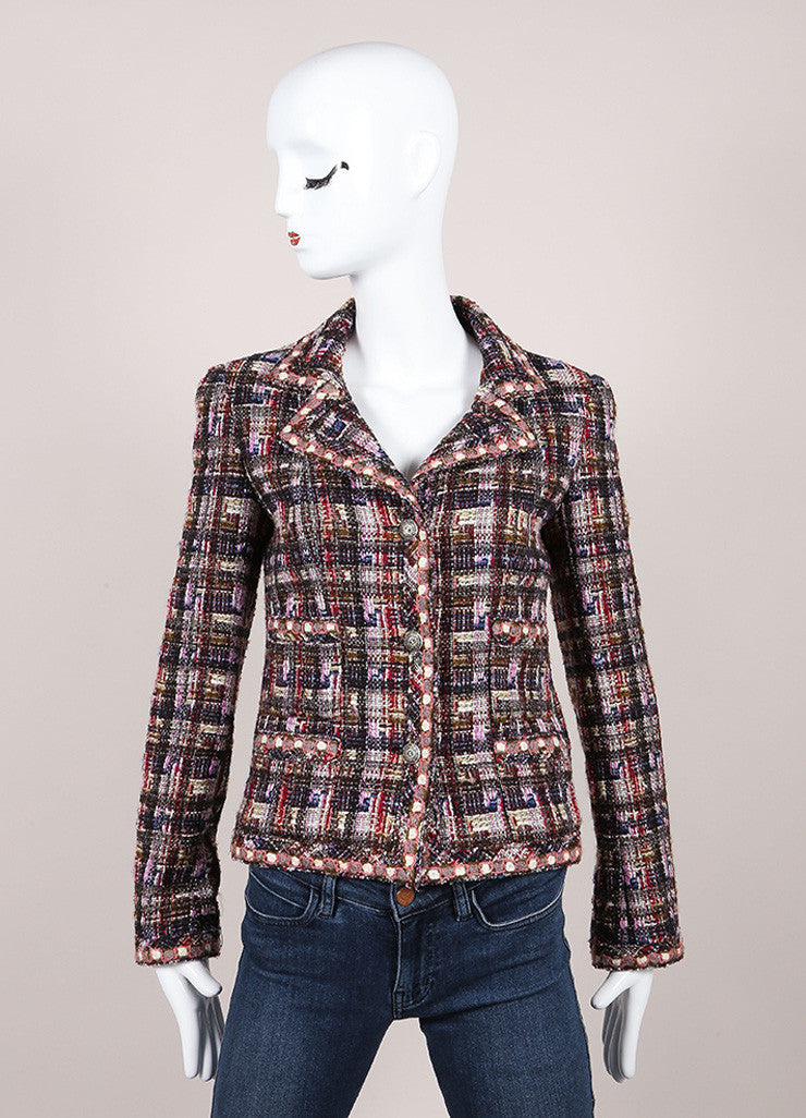 Chanel Multicolor Checkered Wool Blend Tweed Long Sleeve Buttoned Jacket Frontview