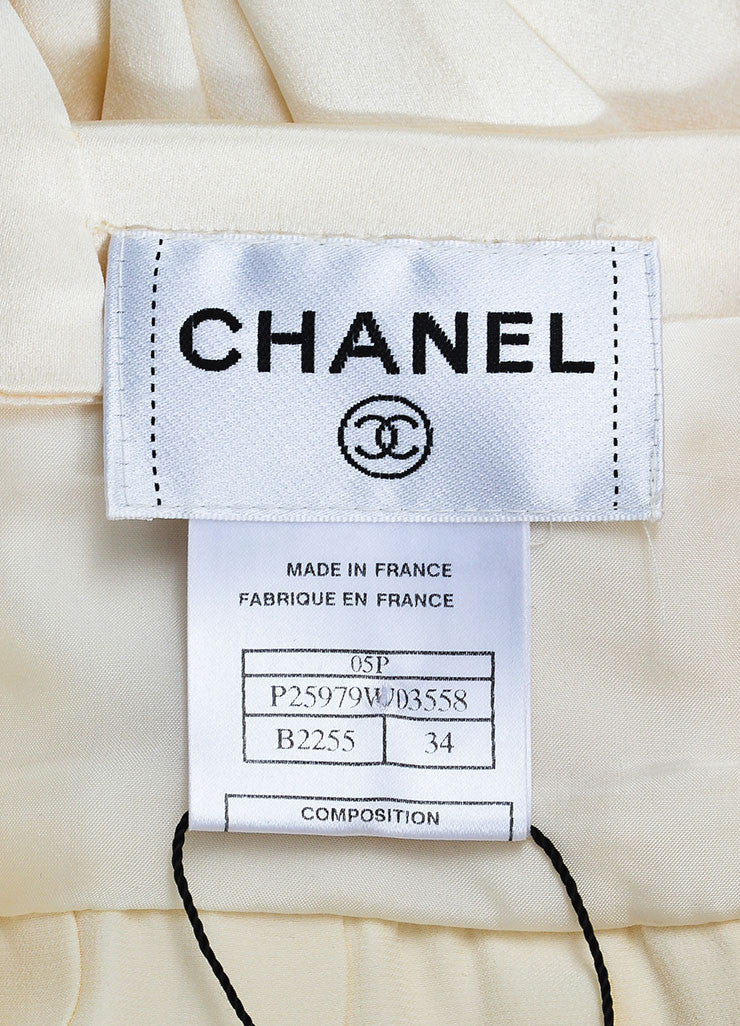 Chanel Cream Silk Spaghetti Strap Pleated Faux Pearl Detail Dress Brand