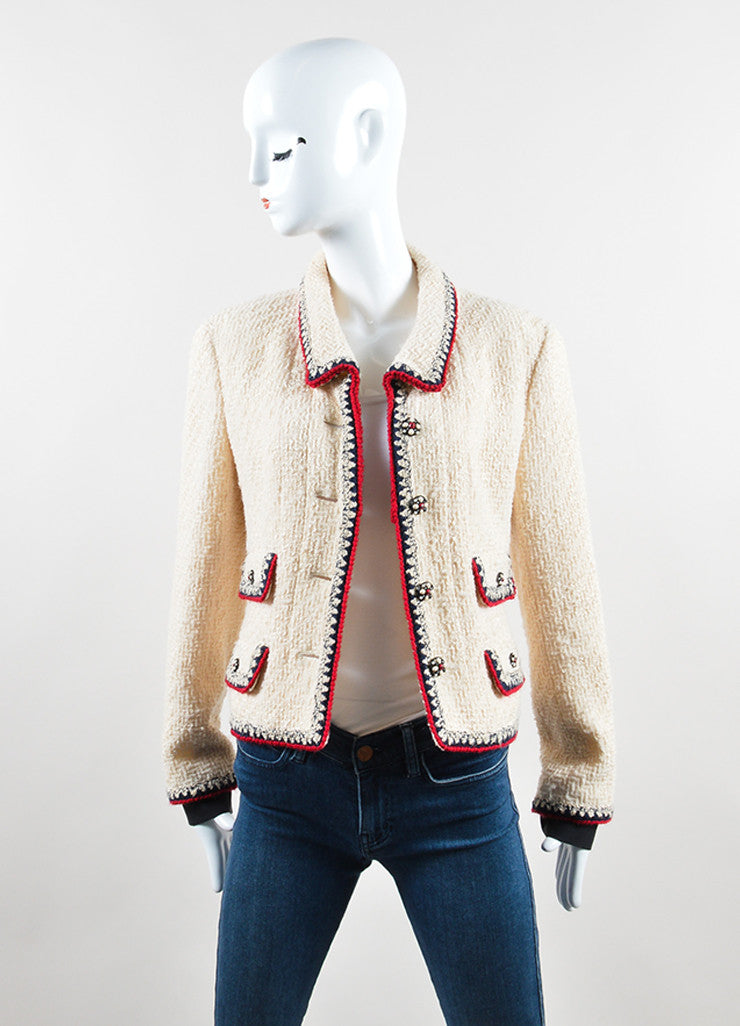 Chanel Cream, Red, and Navy Tweed Embellished Button Jacket Frontview