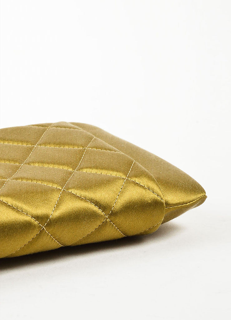 Chanel Olive Green Satin Quilted 'CC' Closure Clutch Bag Bottom View