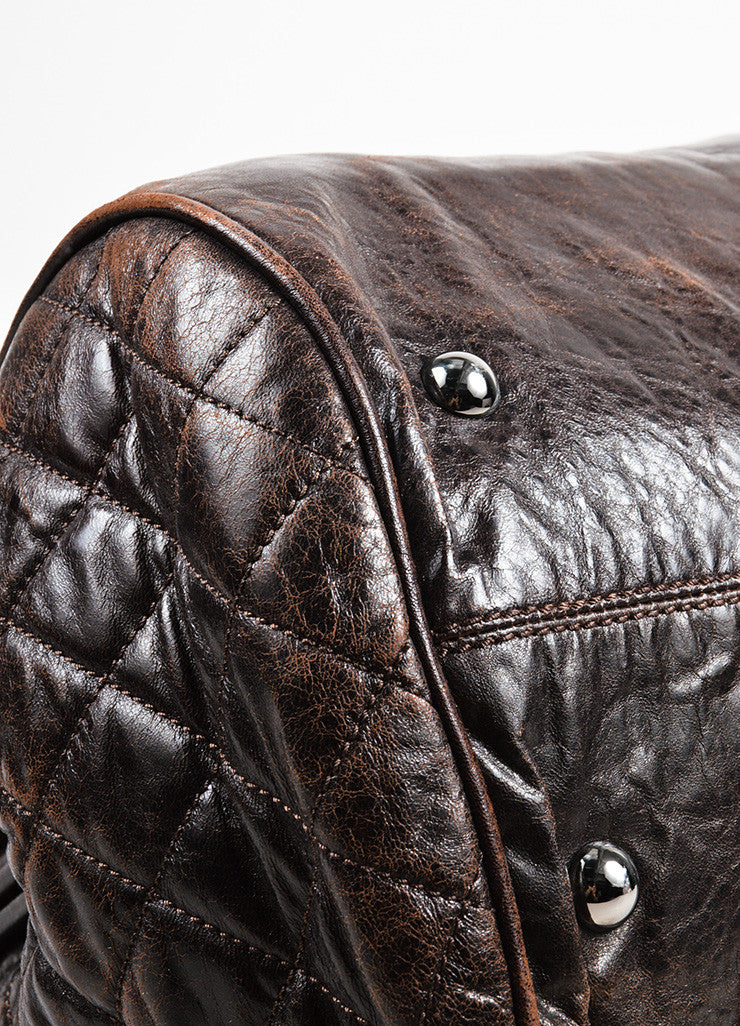 "Dark Brown Chanel Leather Quilted ""Perfect Day"" Tote Bag Detail"