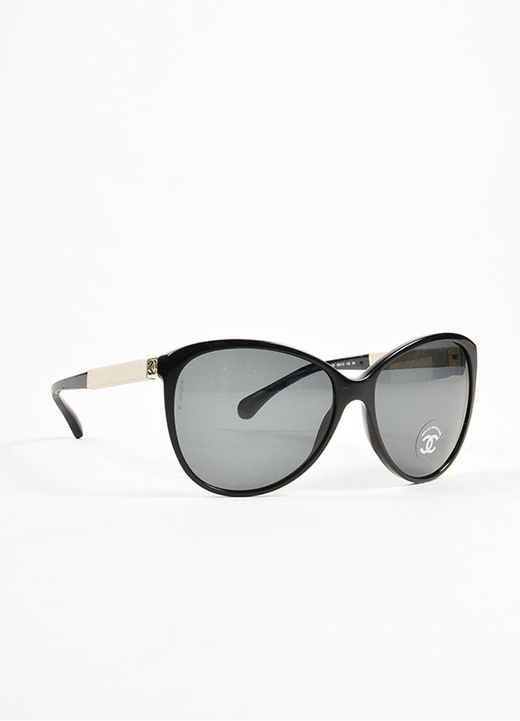 Chanel Black and Cream Leather Trim 'CC' Logo Butterfly Frame Sunglasses Sideview