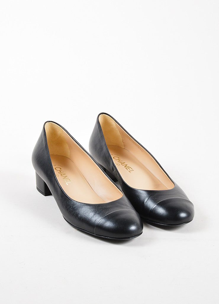 "Chanel Black Leather Faux Pearl ""CC"" Chunky Low Heel Pumps Frontview"