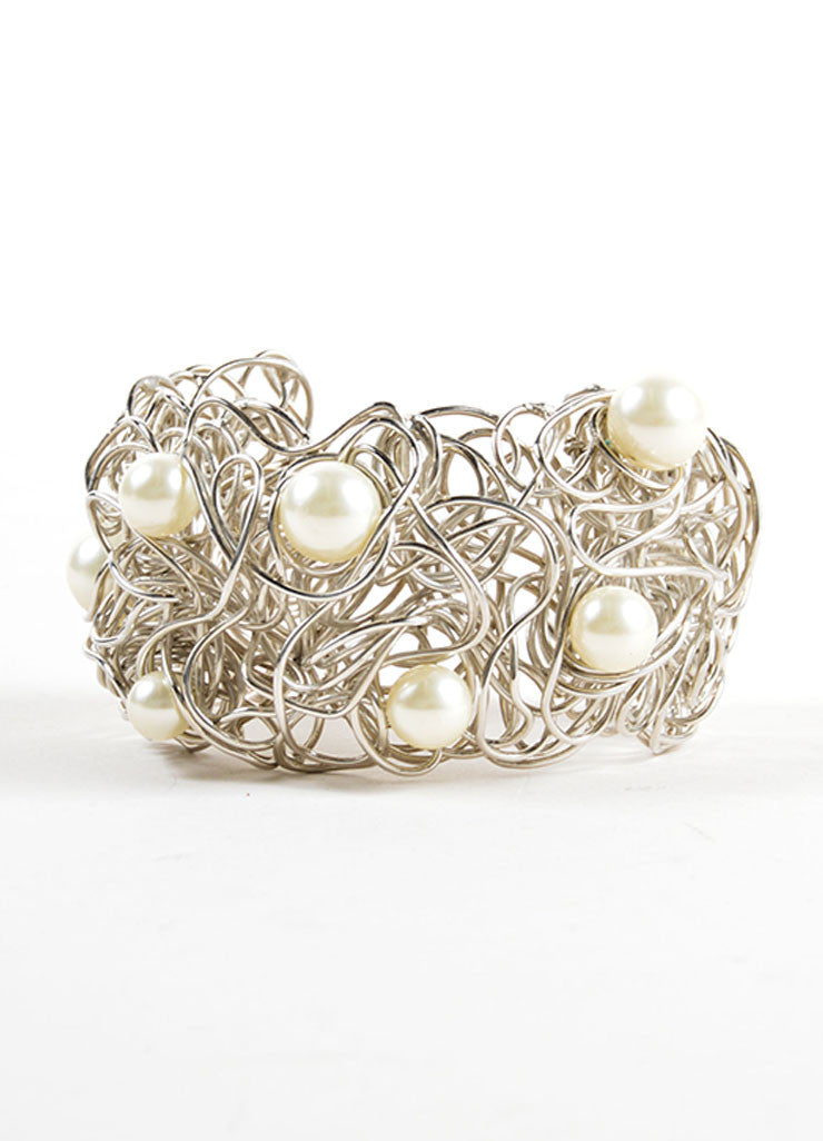 Chanel Silver Toned and Faux Pearl Wire Cuff Bracelet Frontview