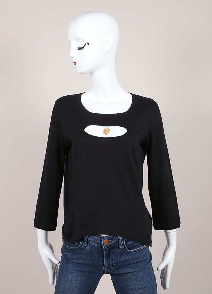 Chanel Black Front Cut Out Medallion Top Frontview