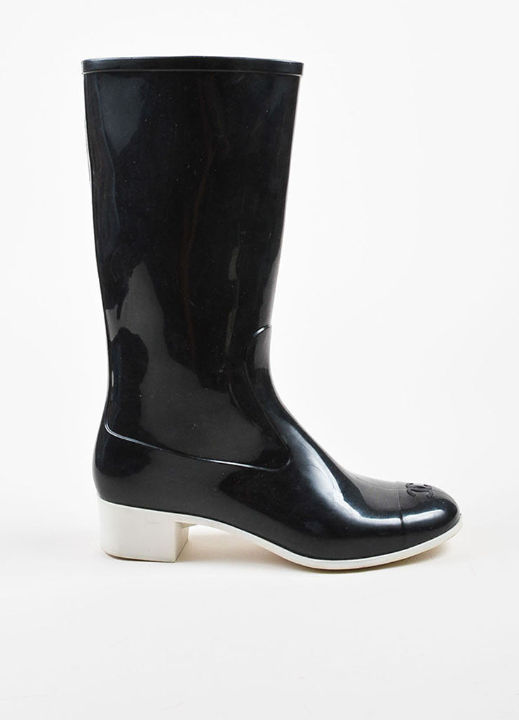 Chanel Black and White Rubber Cap Toe Rain Boots Sideview